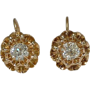 SALE Antique Russian Old Mine Cut Diamond Earrings in Yellow Gold 14k