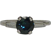 SALE Vintage 1.29ct Sapphire & Diamond Ring in Luxurious Platinum