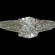 SALE D Color 1.16ct Hand Engraved Platinum & Diamond Engagement Ring