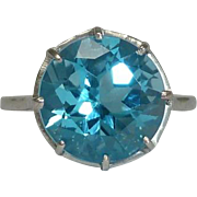 SALE Vintage 4.50ct Swiss Blue Topaz in Platinum Solitaire Ring