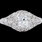SALE Elaborate 1.35ct VS1 Art Deco Diamond Filigree Ring in Platinum