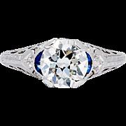 SALE Art Deco 1.71ct EGL Diamond & Sapphire Ring in Platinum