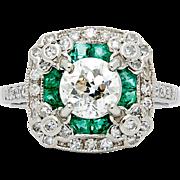SALE Vintage 2.04ct Diamond & Emerald Floral Engagement Ring in Platinum
