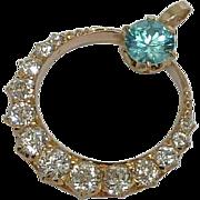 SALE Victorian 3.15ct Mine Cut Diamond & Blue Zircon Pendant in 14k Yellow Gold