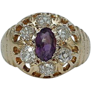 Victorian 1.95ct Old Mine Cut Diamond & Amethyst Cluster Ring in 18K Yellow Gold