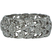 Elaborate Art Deco 0.74ct Diamond Eternity Band in Platinum