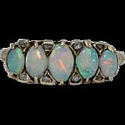 English Victorian Five Stone Opal & Diamond Ring in 18k Yellow Gold