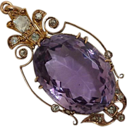 SALE Exceptional French Amethyst & Rose Cut Diamond Pendant