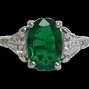 SALE Phenomenal 2.44 carat Emerald & Diamond Ring in Platinum