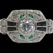 SALE French Art Deco Diamond, Onyx, & Emerald Ring in Platinum