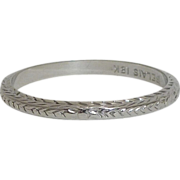 SALE Art Deco Belais Wedding Band in 18K White Gold
