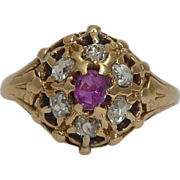 SALE English Georgian Ruby & Diamond Cluster Ring in 18K Yellow Gold