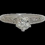 SALE Edwardian Filigree 0.41ct Diamond Ring in Platinum