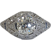 SALE Platinum 1.33ct Diamond & Sapphire Butterfly Ring EGL