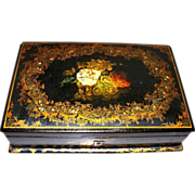 Antique English Papier Mache Box Mother-of Pearl  London label circa 1850