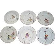 8 Antique Ludwigsburg Meissen-Style Plates/Bowls with Basket Weave Borders  circa 1776   marke