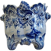 Antique Delft or French Faience Small Rococo Fluted Tin-Glazed Jardiniere Late 18th century/ea