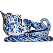 "Antique Holland or French Faience Delft Jardiniere ""Swan Nesting in Basket Flanked by Wat"