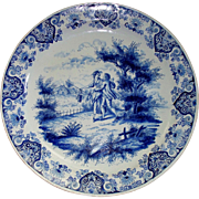 Antique Delft Faience Charger by Albrecht de Keyser  of  Lovers in Country-Side Picnic  16th /