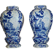 Antique Pair 18th Century French Delft Octagon Rococo Baluster Vases  signed M= Marans 9""