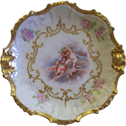 Antique Limoges 'AK' Rococo Small Porcelain Tray of Cherubs Playing