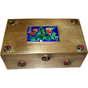 Antique Chinese Brass & Enamel Large Box ca. 1900