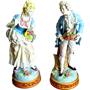 "Antique Pair French Porcelain Figurines  17"" High."