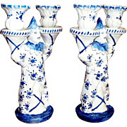 "Antique French Faience ""Claude Reverend"" Candlesticks  ""Clowns""   circa 16"