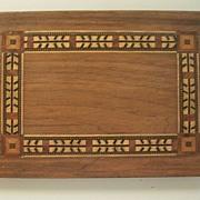 Inlaid Geometric Walnut/Mahogany Wood American Indian Arrow-Feathers Panel