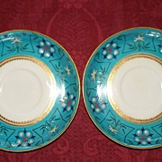 Tiffany Enamelled Saucer Plates by Royal Worcester Porcelain Co.
