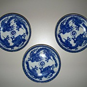 Three  Japanese  Plates/Bowls  with Two Dragons  Fighting.