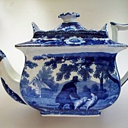 SOLD Antique Pearlware Deep Cobalt -Blue Beehive Tea Pot  Dogs circa 1810