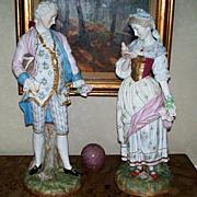 "SOLD Pair of Antique Sitzendorf  Voigt  Brothers  Man & Woman 21""H.1887-1900"