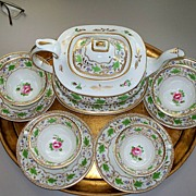 SOLD Antique Worcester  Tea Set  Pot w Tray  & 4 Cs&Ss Hand-Painted c. 1830 Perfect