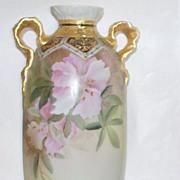 "SOLD Antique Nippon ""Green Wreath"" Azaleas & Calla Lilies Vase  c, 1900"