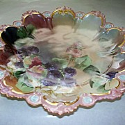 "Spectacular M & Z Austria  11"" Bowl Charger with Berries Signed & Dated"