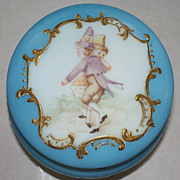 Antique French Opaline Celeste-Blue Dresser Large Jar /Box   ca.1890