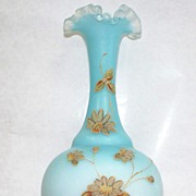 Antique French English Opaline Glass Enameled Vase  Ca 1900