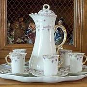 Limoges Jean Pouyat  Rococo Chocolate Set    circa 1890