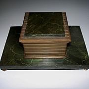 Bradley & Hubbard Faux Marble & Bronze Inkwell  ca.1900