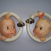 "SOLD Hummel : Pair of ""Ba-Bee "" Wall Plagues  #30a & 30B  Full Bee TMK #2"