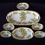 """Lovely Bavarian Germany Five Open Salts with Two Serving Bowls  ca 1900 """"New"""""""