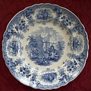 "Antique Staffordshire Historical Pearlware Plate ""Hannibal Crossing the Alps"" circa"