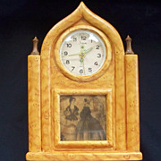 Vintage Faux Pecky Cypress Wood Cathedral Clock Sheffield Co. West Germany