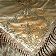 SOLD Antique Silk Silk Damask  Velvet Piano  Shawl  with Rhinestones ca. 1880