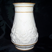Lovely Bisque Vase Gold Gilt Accents Sculptured Flowers Minton, Copeland  or Wedgwood