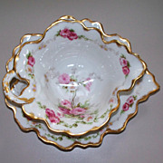 Beautiful Large Limoges Elite Works Leaf Bowl & Tray  Date 1896  PERFECT