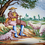 """Antique French Faience """"Nevers"""" """"Quimper"""" Desvres Plate Shepherd with Dog."""