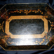 "SALE PENDING Antique French Tole Tray     18"" x 13"""