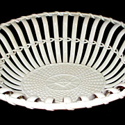 "Antique English Creamware 'Twig' Basket         11"" x 8.5"""